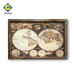 2018 New wood frame religion and world map paintings art on canvas