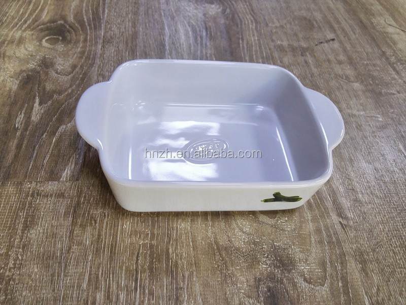 Microwave safe ceramic baking rectangular oven dish with handles