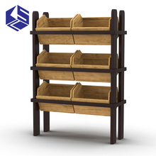 2017 Supermarket wooden vegetable and fruit display shelves stand