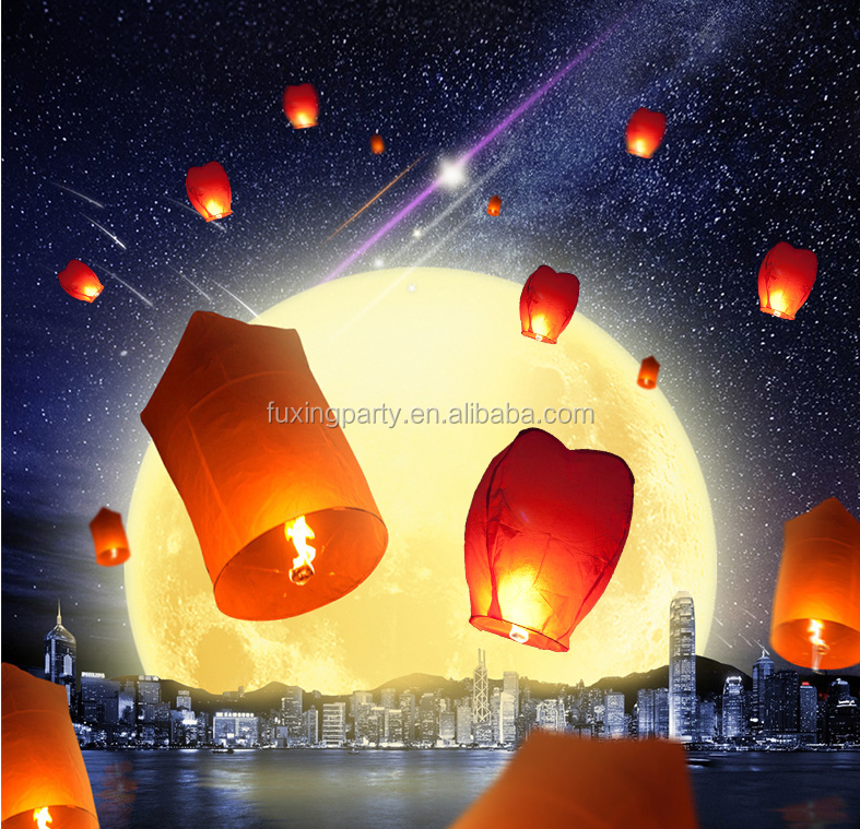 Fuxing famous anti-fire sky lattern,heart shape OEM lamp biodegradable paper festival lattern lamp wholesale