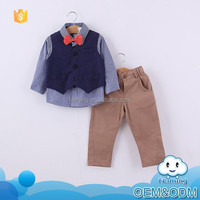 2015 hot sale fashion cute boys baby children's cloth suit blue plaid shirt with bowknot and vest khaki pants
