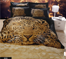 Animals king size 3D bedding set print leapard and tiger china home textile,100% polyester fabric