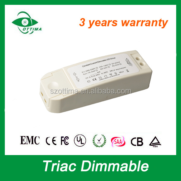 30-42V dc LED SMD 24W Dimmable Downlight lamp constant current 600mA triac dimmer saa transformer