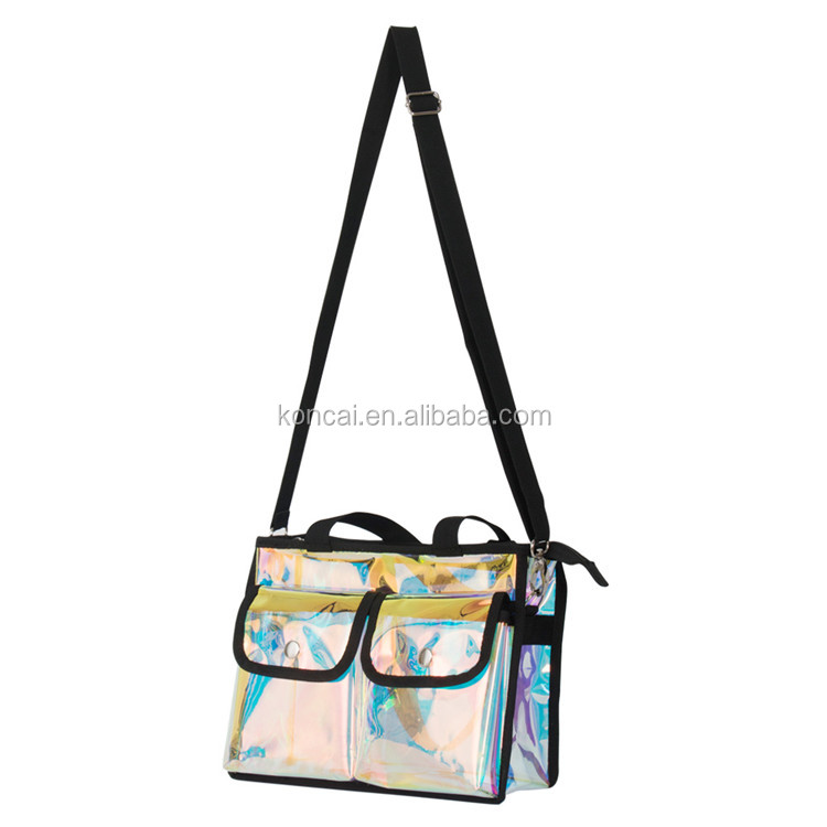 Women Tote Handbag Professional Travel Cosmetic Bag PVC Makeup Bag Clear/Holographic KC-CZ01B