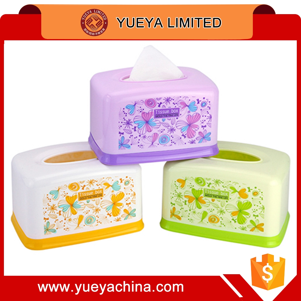 flower printed rectangle tissue container box