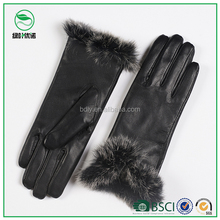 Party ladies fashion dress fur trim leather gloves