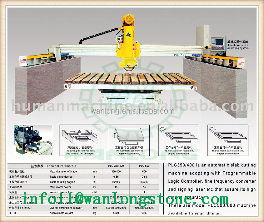 Laser bridge cutting machine with blade tile 45 degree multi function of bridge saw