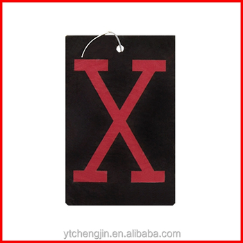 X mark hanging paper black car perfume