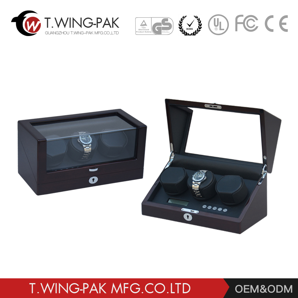 Wholesale good quality all touch sreen 3 rotors for 3 watches automatic wooden watch winder with CE / EMC certification