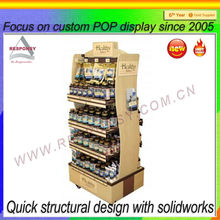 Two sided wooden multi-tiered floor honey display stand dessert display shelf made in shenzhen