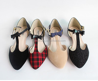 2015 flat women's mary jane shoes pointed toe T-Strap Shoes sweet litter bowtie women single dolly shoes