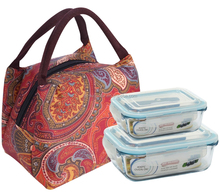 Retangular glass food container/ lunch box/ food storage with bag for office/ camping