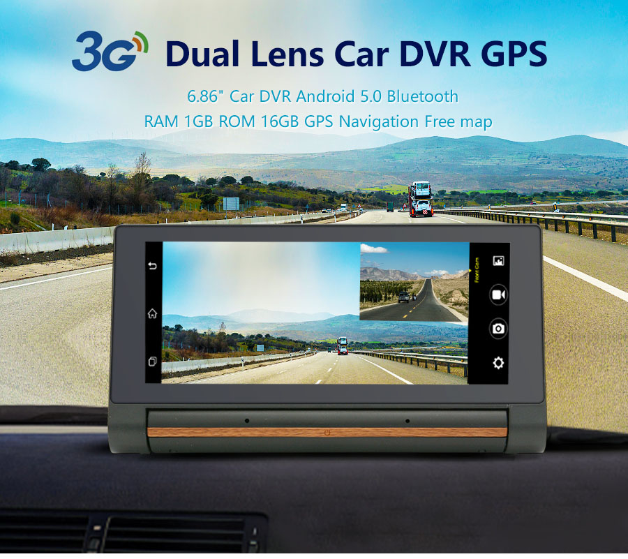 "3G Car DVR GPS Navigation 6.86"" Android 5.0 dash cam Auto recorder Dual Lens cameras FHD 1080p car black box"