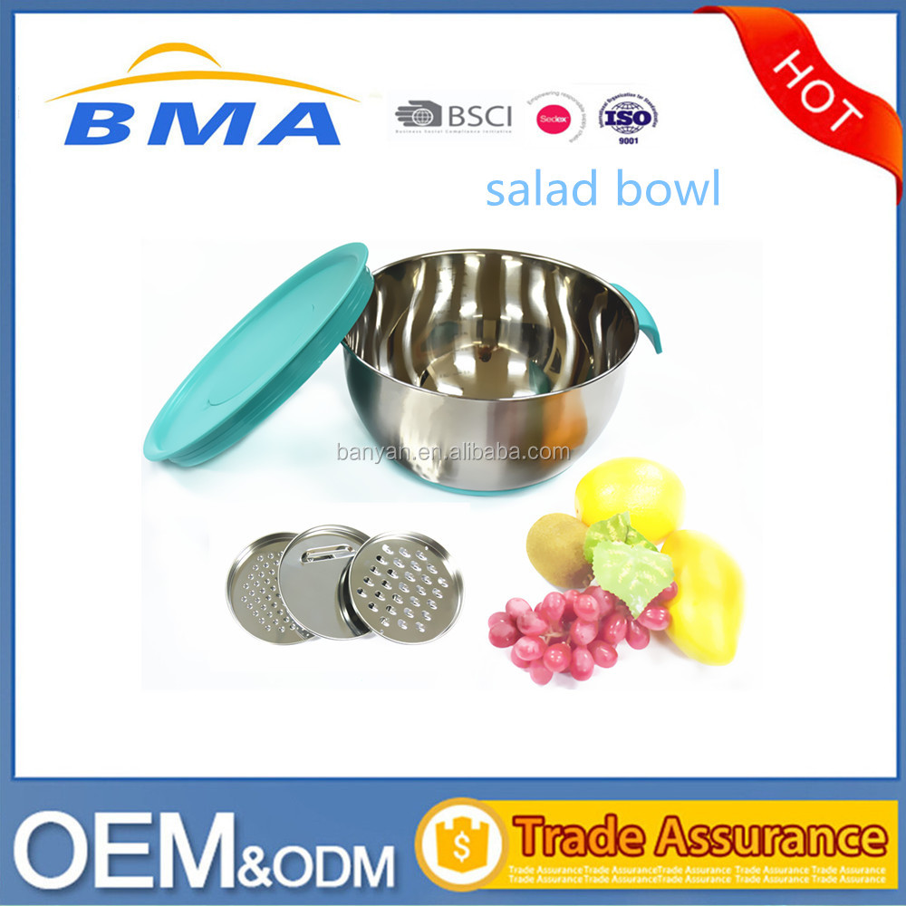 Mixing Salad Bowl Stainless Steel Salad Bowl With 3 Types Graters