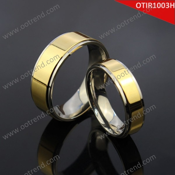 Real gold covering titanium gold combination couple rings