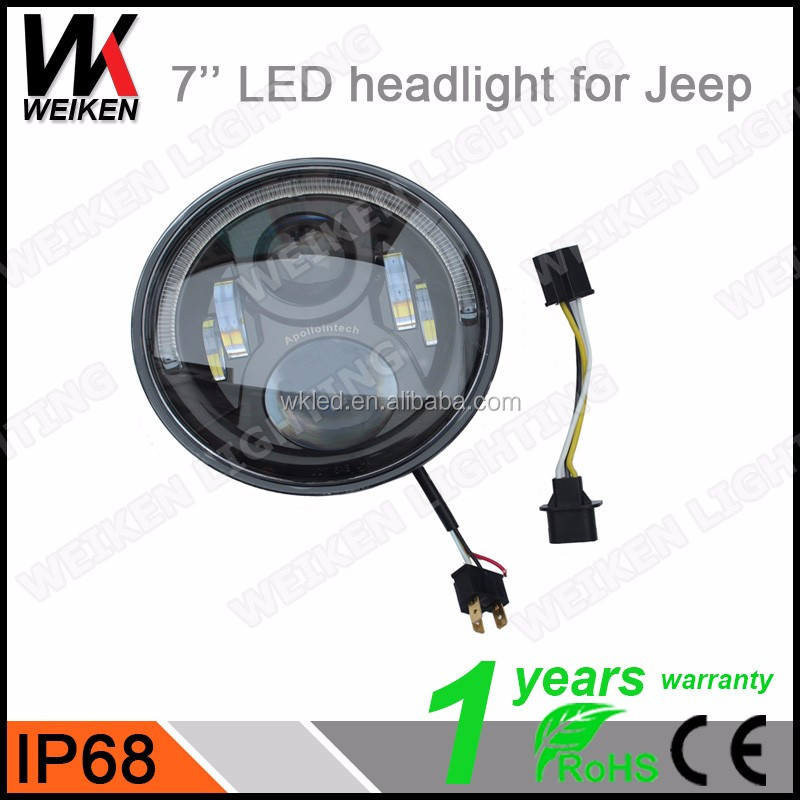 2016 Weiken 7'' Round Led Headlight With High And Low Light beam For Jeep