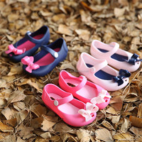 2016 Kids Shoes For Girls New Limited Strap Baby Rubber jelly shoes Mini Cute Bow Sandals Children Bowtie Summer With Fragrance