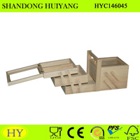 custom unfinished folding wooden sewing box