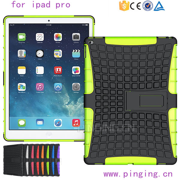 PC + TPU rugged hard kickstand case for ipad pro tablet cover