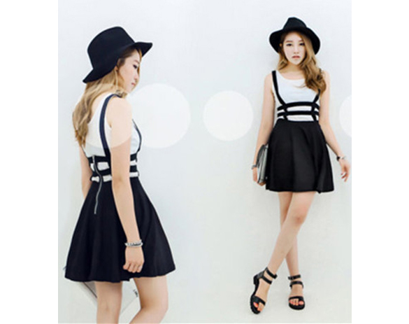 Women Sexy Pleated Suspender Skirt Braces Bandage Girls Photo Sexy Short Skirt SV006669