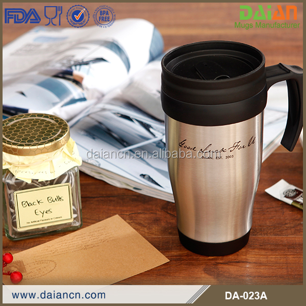 Custom 16oz Travel Cafe Mugs ss with handle