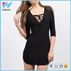 Hot Sale Women black bodycon dress 2016 sexy Women's casual bandage long sleeves evening party cocktail plain midi dress