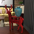 DIY red color table decoration wooden deer