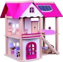 High Quality Hot Sale Lovely Pink Toy House Educational Wooden Doll House