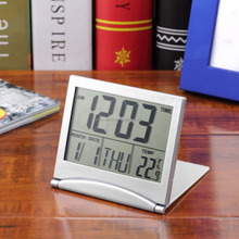 Foldable LCD Digital Travel clock weather station desktop table alarm clock/Promotional gift clock