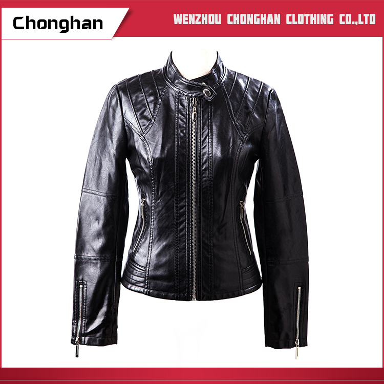 Chonghan 2017 Latest Design Standard Size Pu Leather Jacket For Women