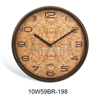 10 inch exclusive handmade wall hanging wood craft clock(10W59BR-198)