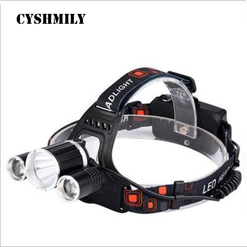 CYSHMILY Newest 1T6+2XPE Light Bulb 30W 1000lm Rechargeable 18650 Waterproof Professional Led Headlamp