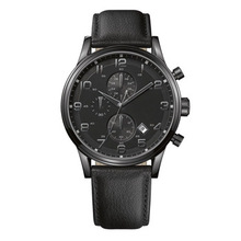 Chronograph Watch Men Luxury Black Stainless Steel Watch Gents Leather Watch Straps