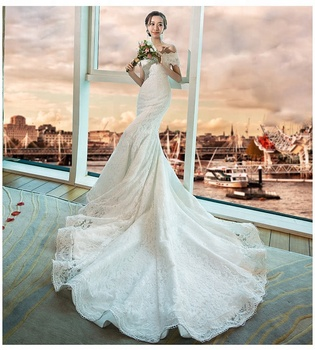 Big Size Available Lace up OEM Supply Guangzhou Factory Wedding Dress