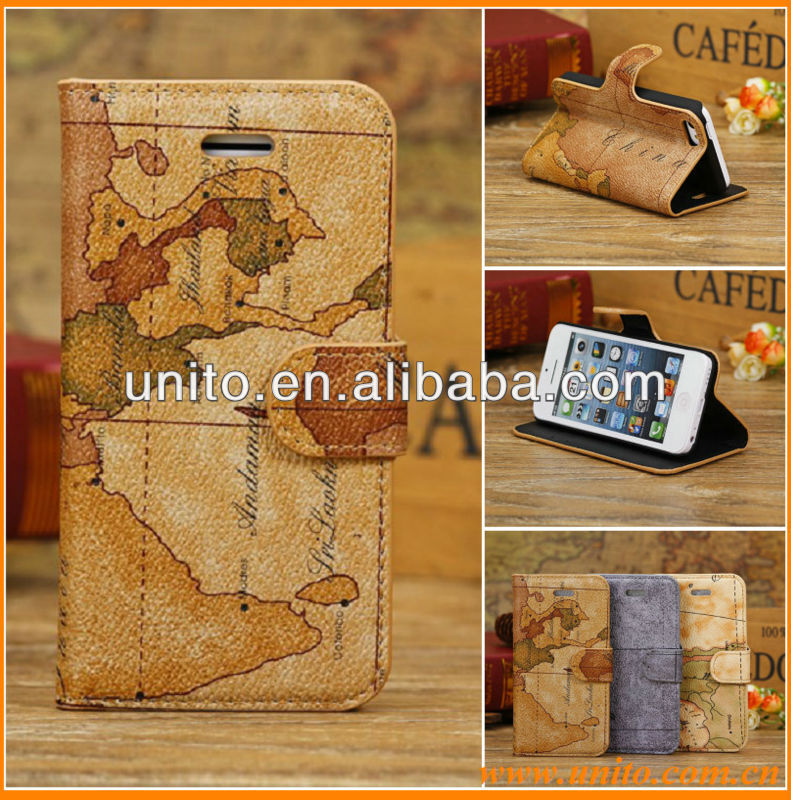 Retro Case for iPhone 5C,for iPhone 5C World Map Case,for Apple iPhone 5C Flip Case