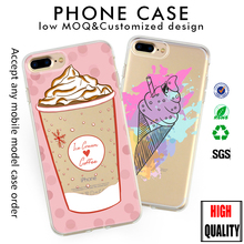 Wholesale Unicorn Ice Cream Coffee design Soft Silicone phone case for iphone 7s 8 case tpu Case