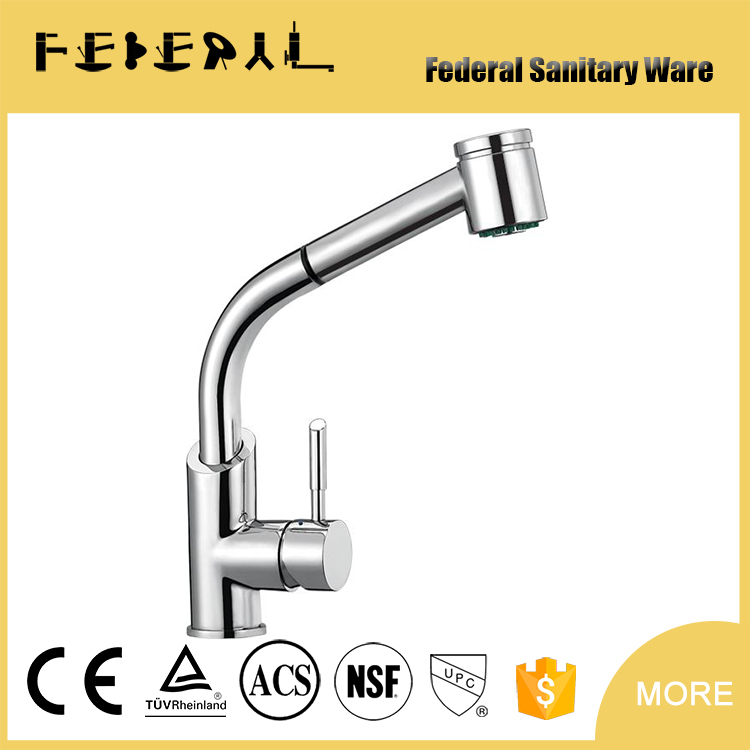 Low pressure zinc lever brass pull out kitchen mixer for Germany