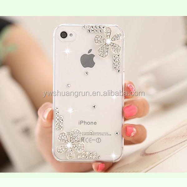 Professional phone accessories jewelry plastic phone case with crystals