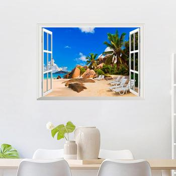 3D Windows Wall Stickers Removable PVC Beach Sea Coconut Tree Landscape Decor Home Decrication