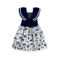 2018 Hot Style Denim Short Sleeve Fake Blue Flower Printed Girl Dress For Party China Manufacturer Summer Lovely Baby Dress