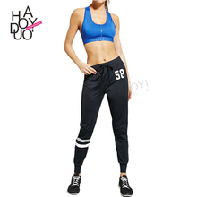 Haoduoyi autumn women new fashion street digital print drawstring sports pants for female