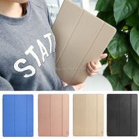 New ROCK Three folding Leather Case Clear PC Back Cover for iPad Pro 12.9 with wake up/sleeping function