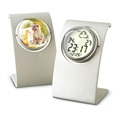 High quality solid Metal Bracket and revovling Crystal ball design weather station desk clock with Photo frame