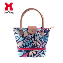 Spring Leaf Style Water Resistant Nylon Huayao Cloth And Leather Women Hand Thermal Lunch Cooler Bag