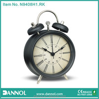 Roman Number Quartz Metal Table Twin Bell Antique Alarm Clock/double bell mini alarm clock