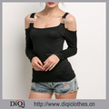 New Fashion Summer Ladies O-neck Solid Off the Shoulder Long Sleeve Slim Black Sexy Beach Tops
