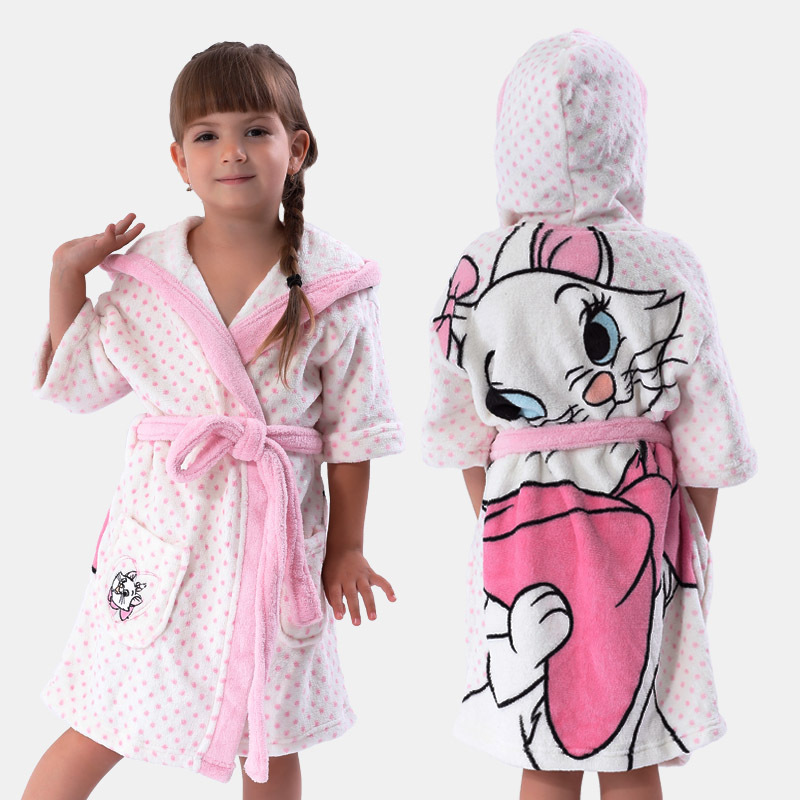 Buy Girls White Bathrobe With Hood Coral Fleece Printed Cat Marie ...