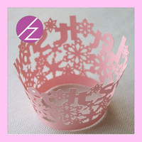 Laser Cut Christmas It Is Snow Snowflake Cupcake Decoration Wrapper DG-47