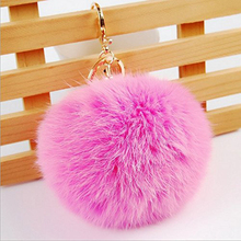 Alibaba wholesale bag plush car key ring pendant rabbit fur pompom ball keychains