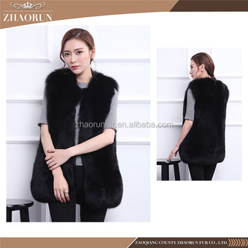 High Quality Fancy Color Fur Vest Midum Long Fox Fur Vest With Multi Color